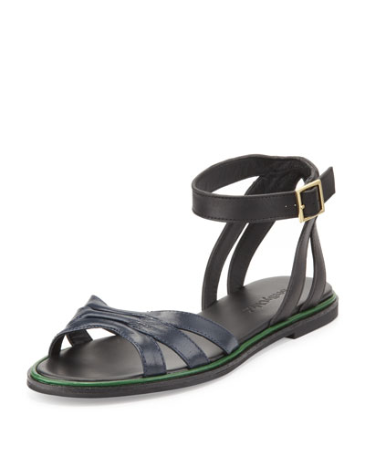 See by Chloe Two-Tone Leather Flat Sandal, Black/Navy