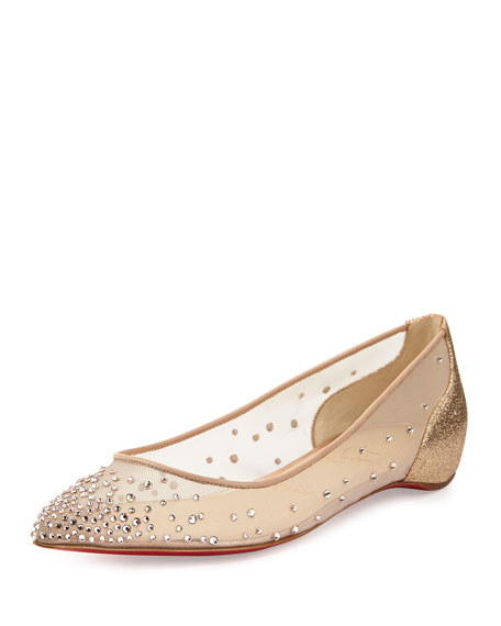 Body Strass Pointed-Toe Ballerina Flat, Poudre