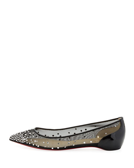 Body Strass Pointed-Toe Ballerina Flat, Black