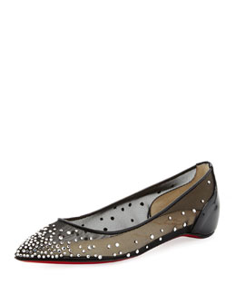Christian Louboutin Body Strass Pointed-Toe Ballerina Flat, Silver