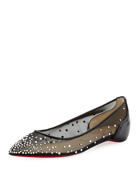 Christian Louboutin Body Strass Pointed-Toe Ballerina Flat, Black