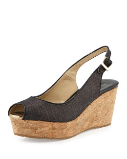 Jimmy Choo Praise Denim Peep-Toe Wedge, Navy