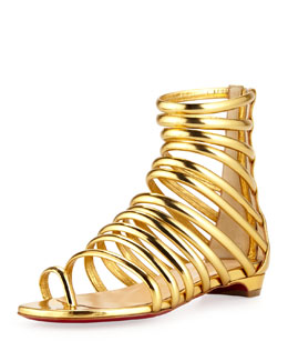 Christian Louboutin Catchetta Metallic Gladiator Sandal, Gold