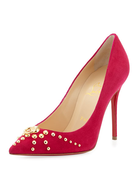 Door Knock Studded Red-Sole Pump, Cyclamen/Gold