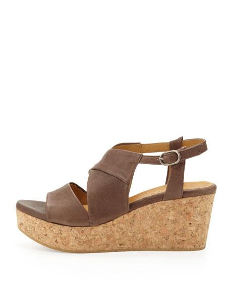 Melania Cork-Wedge Sandal