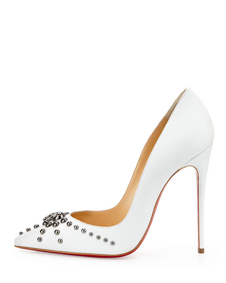 Door Knock Leather Red Sole Pump, White