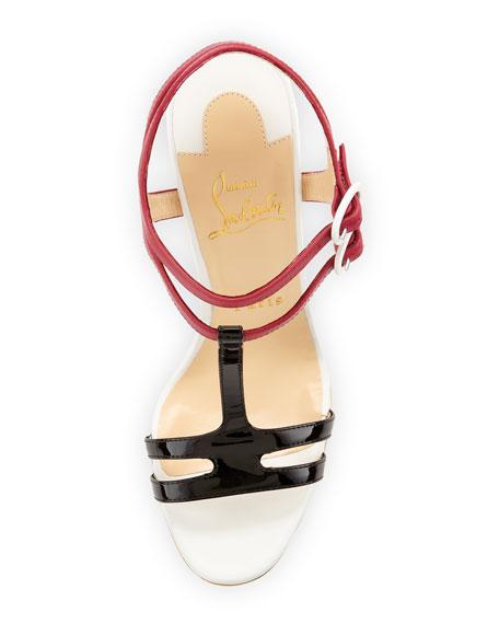 Double Tutti T-Strap Red Sole Sandal, Multicolor