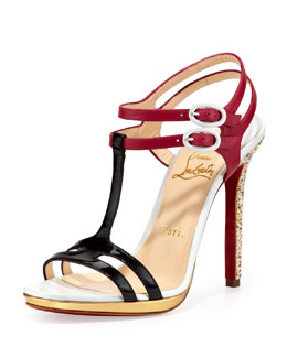 Christian Louboutin Double Tutti T-Strap Red Sole Sandal, Multicolor