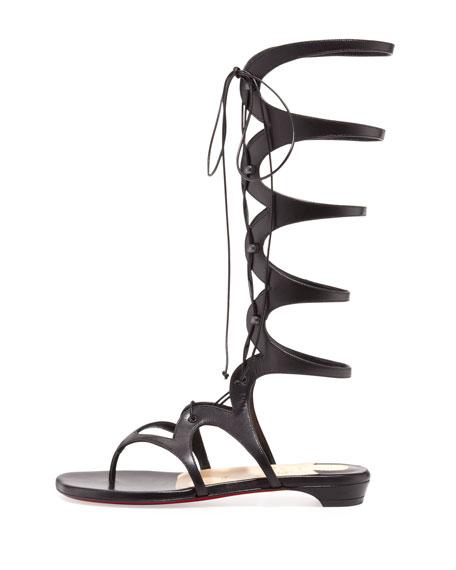 Christian Louboutin Girafina Knee-High Gladiator Sandal, Black