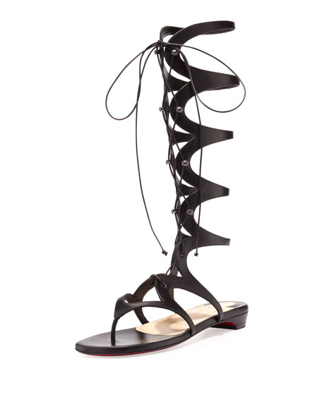 Girafina Knee-High Gladiator Sandal, Black