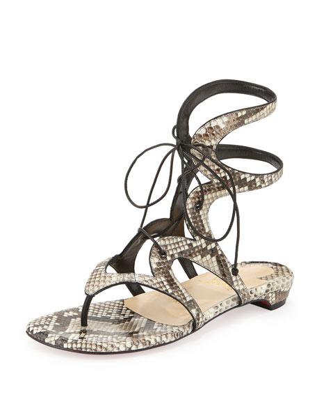 Christian Louboutin Girafina Ankle-High Python Gladiator Sandal, Black