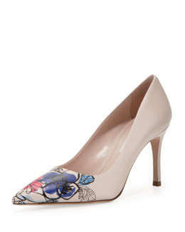 Miu Miu Floral Point-Toe Leather Pump, Nude