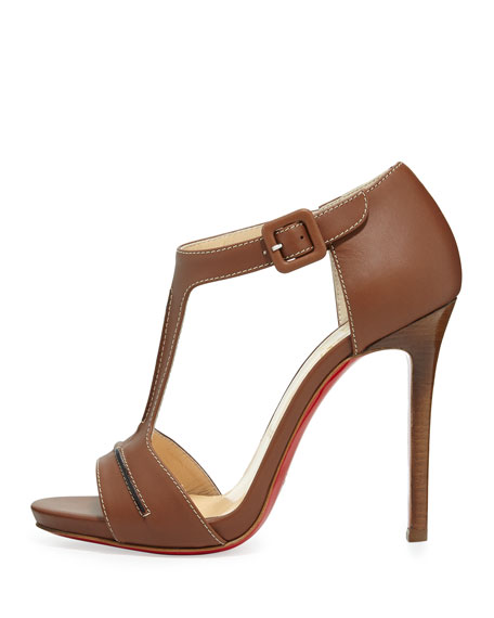 In My City Leather T-Strap Red Sole Sandal, Cognac