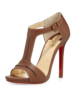 Christian Louboutin In My City Leather T-Strap Red Sole Sandal, Cognac