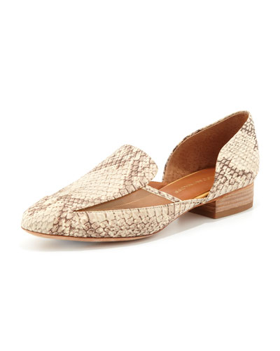 Rebecca Minkoff Harper Snake-Embossed Loafer, Natural