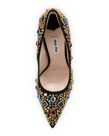 Jeweled Suede Point-Toe Pump, Black
