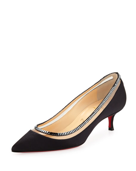 a5e4f4b09803 Christian Louboutin Paulina Red Sole Satin Low-Heel Pump