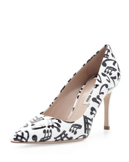 Miu Miu Patent Music Note Pump, White