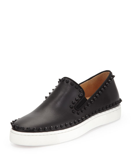 Studded Calfskin Slip-on Sneaker, Black