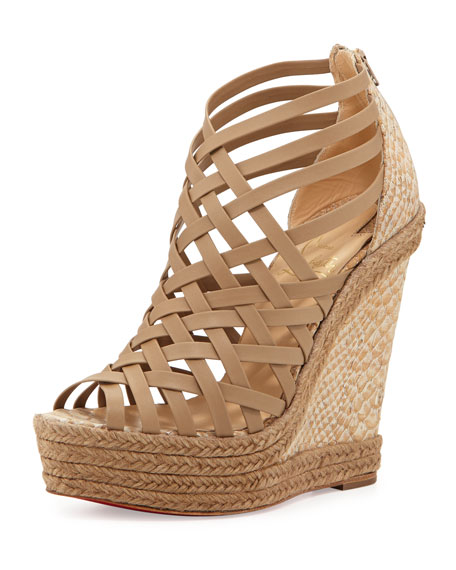 Tramontagne Red Sole Wedge Sandal, Beige