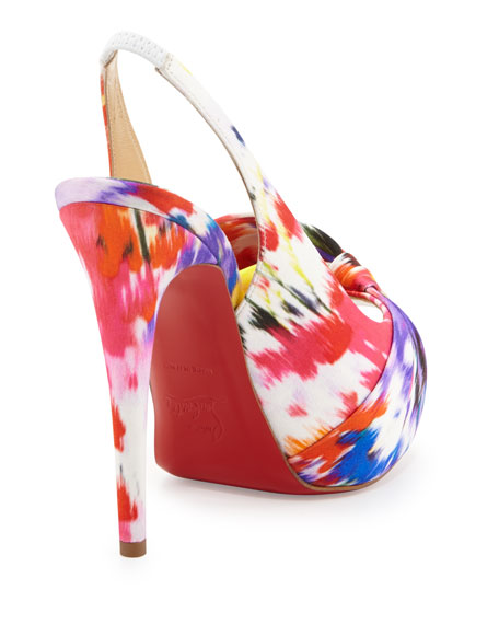 Vendome Floral-Print Red Sole Slingback