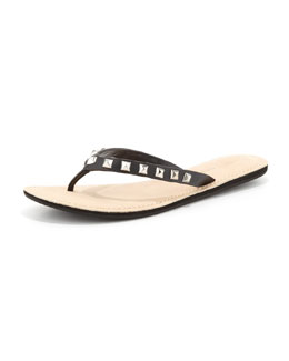 Rebecca Minkoff Fiona Studded Leather Flip-Flop, Black