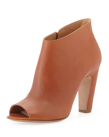 Leather Peep-Toe Ankle Boot, Brown