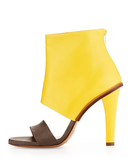 Bicolor Leather High-Heel Sandal