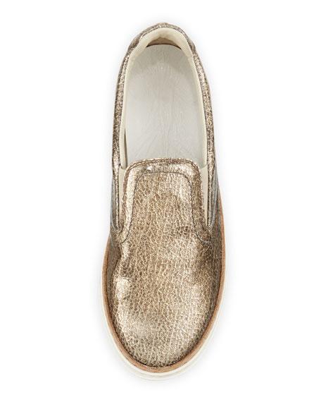 Crackled Metallic Slip-On Sneaker