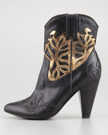 Regina Overlay High-Heel Bootie, Black/Gold