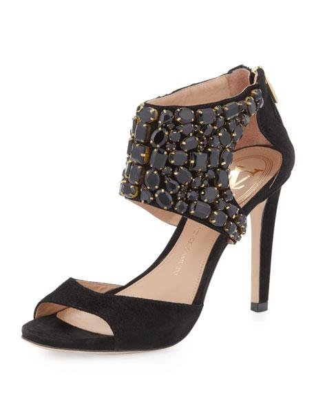 Brandie Crystal Ankle-Strap Sandal, Black