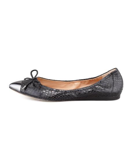 Chelsie Point-Toe Snakeskin Ballet Flat, Black