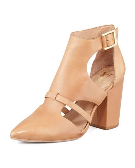 Velmah Point-Toe Leather Bootie, Camel