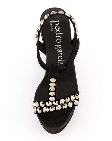 Tyra Crystal-Stud Wedge Sandal, Black