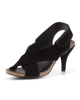 Pedro Garcia Maia Low-Heel Crisscross Suede Sandal, Black