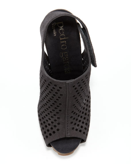 Perforated Suede Slingback Bootie, Coal
