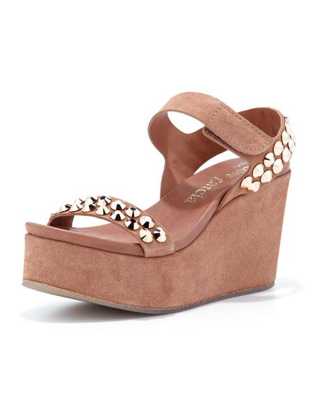 Dana Stud Platform Wedge Sandal, Adobe