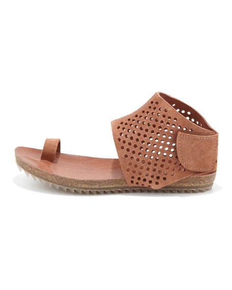Venus Perforated Suede Sandal, Adobe
