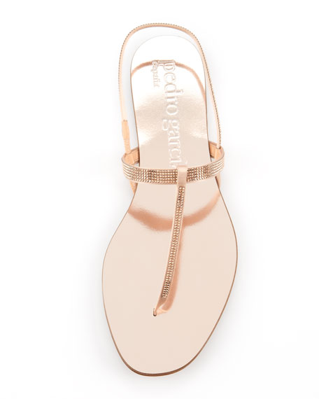 Ella Crystal Thong Sandal, Rose Gold
