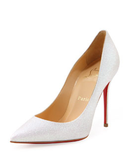 Christian Louboutin Decollete Glitter Point-Toe Red Sole Pump, Glacier