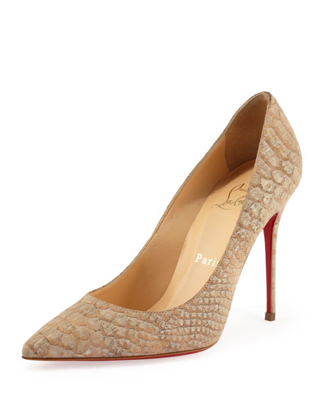 Decollete Snake-Print Cork Red Sole Pump, Beige