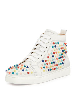 Christian Louboutin Louis Spikes Calfskin High-Top Sneaker