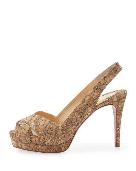 Soso Cork Red Sole Slingback Sandal, Gold