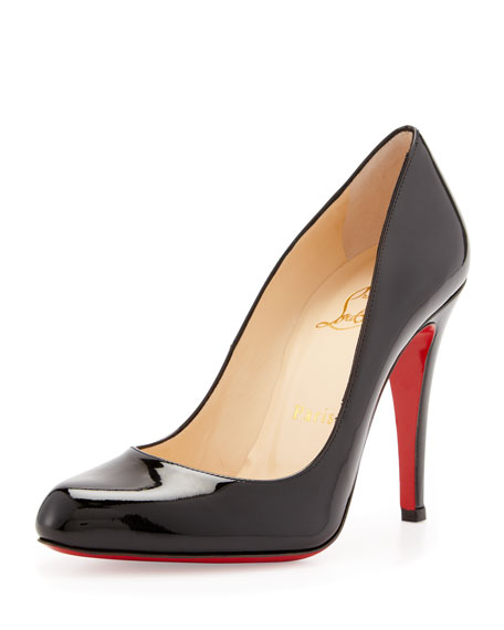 Decollette Patent Red Sole Pump, Black
