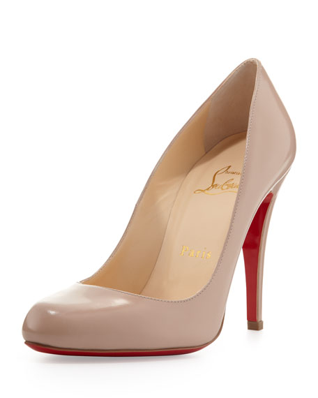 Decollete Leather Red Sole Pump, Nude