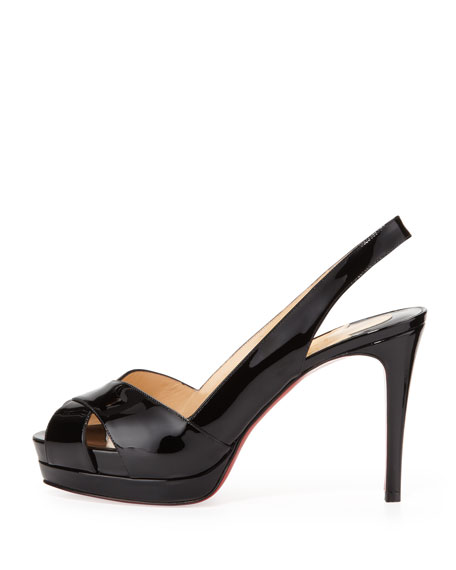 Soso Patent Red Sole Slingback Sandal, Black