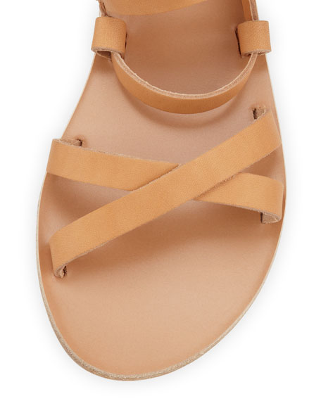 Ellie Crisscross Flat Sandal, Natural/Gold