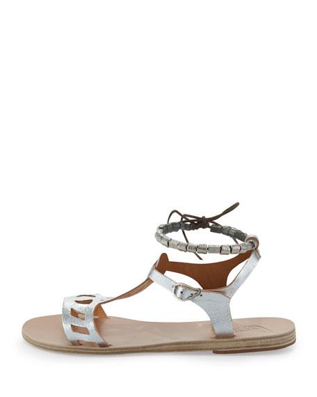 Ourania Metallic Beaded-Wrap Sandal