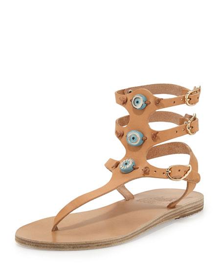 Eyes Triple-Strap Thong Sandal, Natural