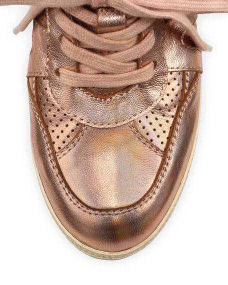 Beck Metallic Wedge Sneaker, Rose Gold